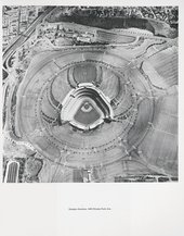Ed Ruscha Thirtyfour Parking Lots in Los Angeles1967 aerial view of a stadium and all the surrounding car parks