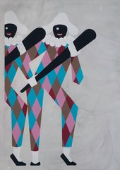 Enrico David Bulbous Marauder 2008 painting of two perriot clown characters carrying clubs