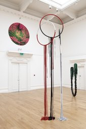 Eva Rothschild at South London Gallery 2007 hanging sculptures Rising Sun, Higher Love, Cactus