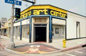 Facade for the Mechicano Art Center in Highland Park, Los Angeles, photographed by Oscar Castillo