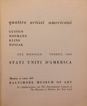 Title page of Quattro Artisti Americani: Guston, Hofmann, Kline, Roszak, exhibition catalogue, 30th Venice Biennale, Venice 1960