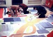 Gene Lesser, William Freed, James Gahagan and Max Spoerri Preparing Artwork for Hans Hofmann's Mosaic Mural for 711 Third Avenue 1956