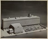 Photograph of the architectural model of the New York School of Printing, designed by architects Kelly and Gruzen, 1958