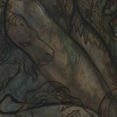 Detail of thigh showing semi-opaque flesh paint covering white outlines