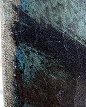 Detail of left edge showing initial blue paint layer