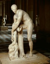 Hermes Tying his Sandal, Roman copy, 2nd century AD, after Greek original, 4th century BCE