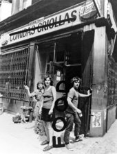 Tina Girouard, Carol Goodden and Gordon Matta-Clark in front of the closed-down bodega that would become their restaurant Food, New York, 1971