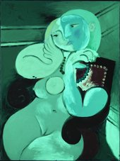 Nude Woman in a Red Armchair 1932 under ultraviolet (UV) light