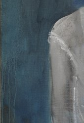 Detail of Girl in a Chemise c.1905 showing washy blue background with runs