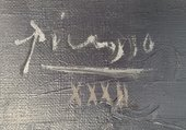 Detail of signature and date in upper-left corner