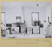 Photograph of Picabia's studio in summer 1935 showing Portrait of a Doctor on top of the mantelpiece