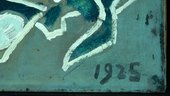 Detail of date in lower-right corner under ultraviolet light