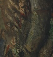 Detail of torso showing extensive retouching (in the centre of the image)