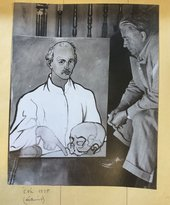 Photograph of Picabia with Portrait of a Doctor c.1935