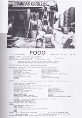 Poster and menu for Food, 1971, featuring a photograph of the renovations by Richard Landry