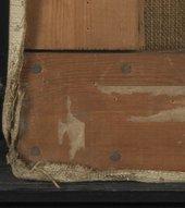 Detail of lower left corner of strainer showing nails