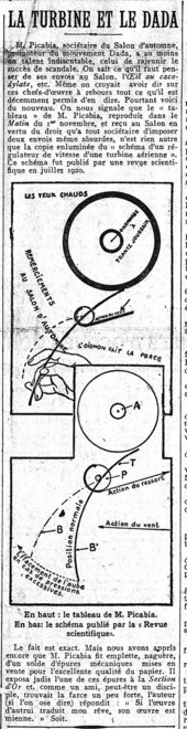 Article on front page of Le Matin, 9 November 1921, comparing Hot Eyes to a diagram of an air brake turbine