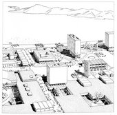 Paul Lester Wiener and Josep Lluís Sert, Aerial Perspective Sketch of Chimbote Civic Center, Showing Main Square and Standing Bell Tower 1949–50