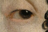 Detail of the sitter's left eye, showing translucent reddish brown outlines