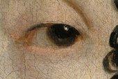 Detail of the sitter's left eye, showing translucent reddish brown outlines
