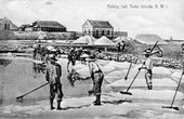 Postcard showing salt raking in Grand Turk, Turks and Caicos Islands, early twentieth century