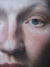 Detail of the hatched technique used to paint the sitter's face in ?British School, 'Portrait of a Gentleman'