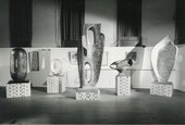 Installation view of Exhibition on the Occasion of the Conferment of the Honorary Freedom of the Borough of St Ives on Bernard Leach and Barbara Hepworth, St Ives Guildhall, 1968