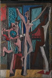 The Three Dancers 1925 viewed under raking light from the left
