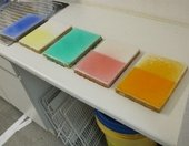 Dyed polyester resin test panels after two years of light ageing