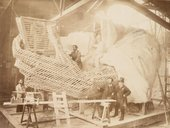 Construction of the skeleton and plaster surface of the left arm and hand of the Statue of Liberty, 1883