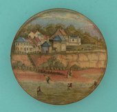 Ceramic pot lid featuring Pegwell Bay and Four Shrimpers c.1860