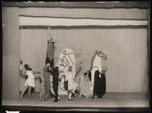 Photograph of costumes and set by Picasso for ballet Mercure, 1924