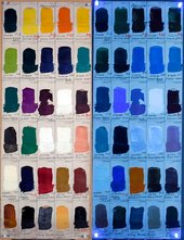 An example of a Winsor & Newton Artists' (W&N) Oil Colour swatch dating to 1957, shown in tungsten and UV light.