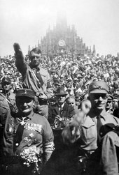Heinrich Hoffman Nazis giving the Sieg Heil salute at a Nazi Party rally in Nuremberg, 1928