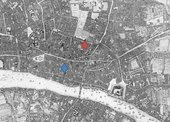 John Roque's 1746 map of London, with James Crokatt's premises marked in blue and Henry Muilman's premises marked in red
