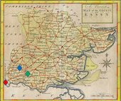 Thomas Osborne's 1748/50 map of Essex, engraved by Thomas Hutchinson, with London marked in red, Luxborough marked in blue and Dagnams marked in green