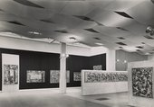 Installation view of an exhibition featuring paintings by Jackson Pollock at Whitechapel Gallery, London, 1958