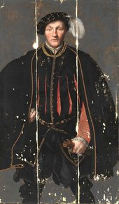 ?British School, 'Portrait of a Gentleman, probably of the West Family' c.1545–60 during conservation treatment