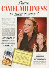 "'Prove Camel Mildness in Your ""T-Zone""!' Advertisement for Camel cigarettes"