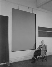 William Vandivert, Barnett Newman in his Front Street studio with Adam (left), Eve (centre) and Horizon Light (right), early 1950s