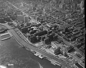 Aerial view of Bellevue Hospital and Kips Bay, New York, 24 September 1953