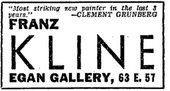 Advertisement for Franz Kline's exhibition at the Charles Egan Gallery, New York, New York Times, 29 October 1950, p.X9