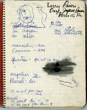 Notebook page with French language lessons and sketch, 1961