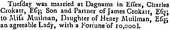 Newspaper article reporting the marriage of Charles Crokatt to Anna Muilman