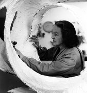Barbara Hepworth with Oval Form (Trezion) 1963 in the Palais studio 1963