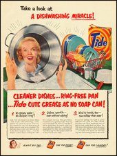 'Take a look at a dishwashing miracle!' Advertisement for Tide dishwashing detergent