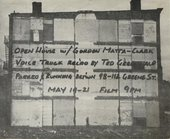 Invitation to a screening of Matta-Clark's Open House 1972 featuring a source photograph for Walls Paper 1972