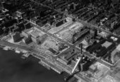 Aerial view of NYU-Bellevue project in progress (looking north), 3 November 1958