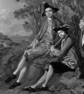 Thomas Gainsborough, Muilman, Crokatt and Keable in a Landscape, detail of the infrared reflectogram showing two sitters