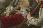 Thomas Gainsborough, Peter Darnell Muilman, Charles Crokatt and William Keable in a Landscape, detail of objects held by sitters